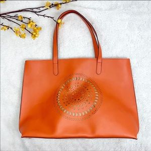 NEW Neiman Marcus || Faux Leather Cutout Tote Bag